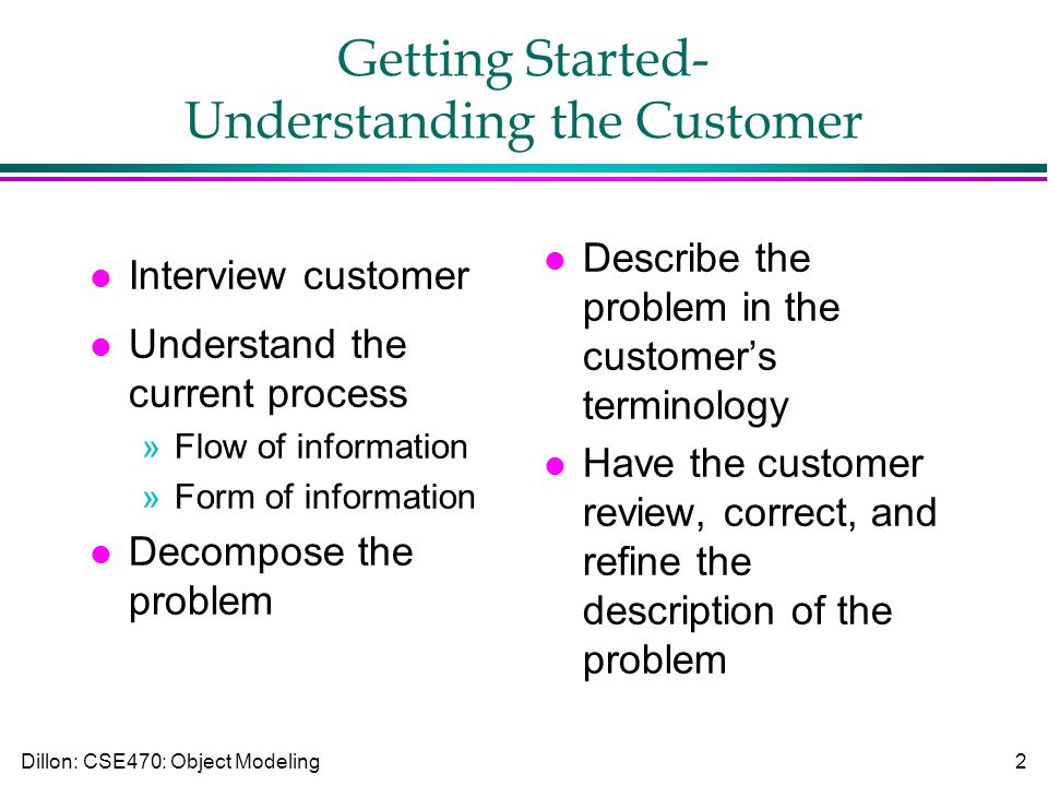 Dillon: CSE470: Object Modeling2 Getting Started- Understanding the Customer l Interview customer l Understand the current process »Flow of information »Form of information l Decompose the problem l Describe the problem in the customer's terminology l Have the customer review, correct, and refine the description of the problem