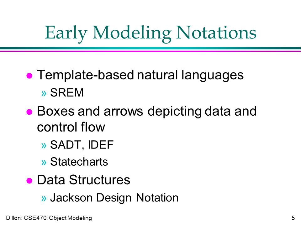 Dillon: CSE470: Object Modeling5 Early Modeling Notations l Template-based natural languages »SREM l Boxes and arrows depicting data and control flow »SADT, IDEF »Statecharts l Data Structures »Jackson Design Notation