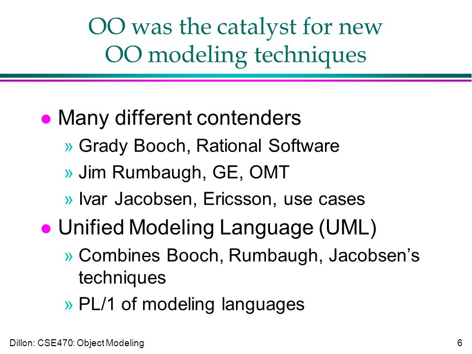 Dillon: CSE470: Object Modeling6 OO was the catalyst for new OO modeling techniques l Many different contenders »Grady Booch, Rational Software »Jim Rumbaugh, GE, OMT »Ivar Jacobsen, Ericsson, use cases l Unified Modeling Language (UML) »Combines Booch, Rumbaugh, Jacobsen's techniques »PL/1 of modeling languages