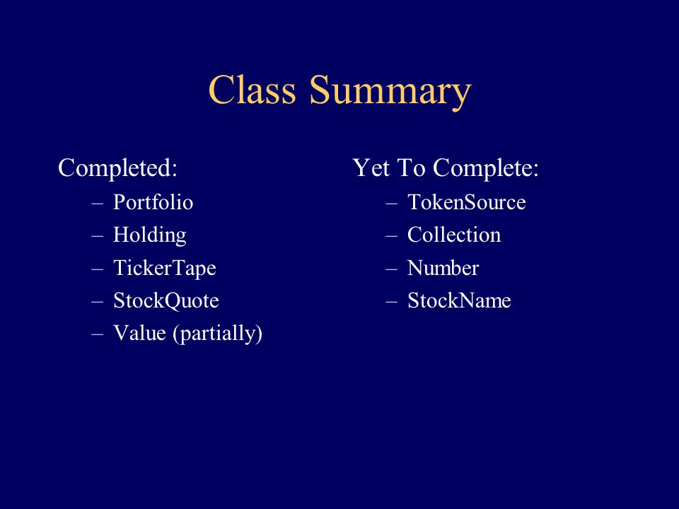 Implementing Value: other methods class Value { Value create(TokenSource src) {...