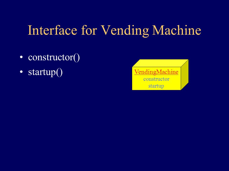 Behavior of Vending Machine create start the machine This is just my design for a machine, plenty of others