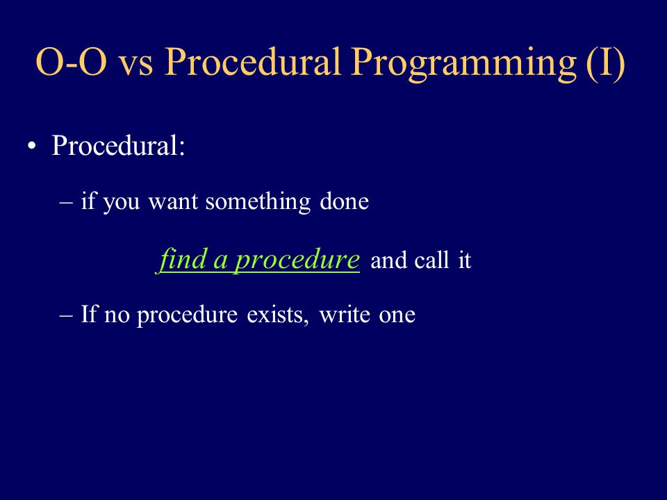 Imperative Programming Under OOP: The object, not the computer, is the actor minor point perhaps.