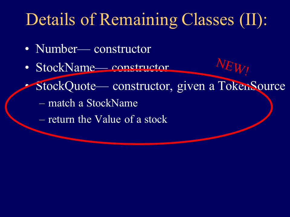 Details of Remaining Classes (I): TokenSource — constructor –get String Collection— constructor –add –...