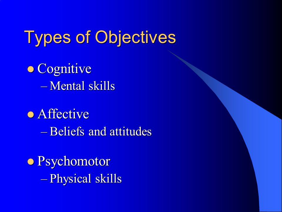 Types of Objectives Cognitive Cognitive –Mental skills Affective Affective –Beliefs and attitudes Psychomotor Psychomotor –Physical skills