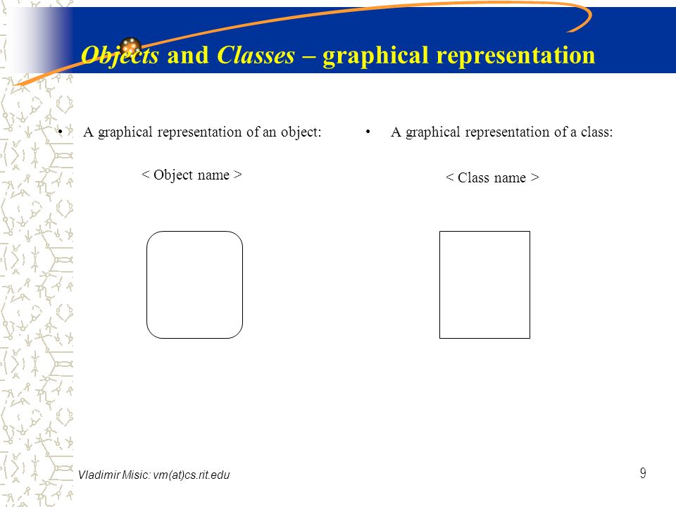 Vladimir Misic: vm(at)cs.rit.edu 9 Objects and Classes – graphical representation A graphical representation of an object: A graphical representation of a class: