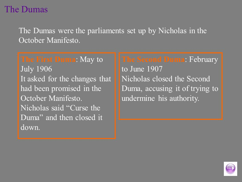 The First Duma: May to July 1906 It asked for the changes that had been promised in the October Manifesto.