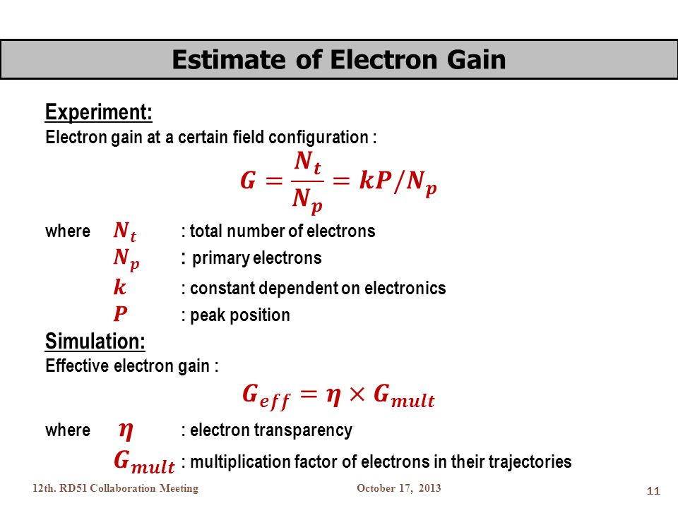 October 17, 201312th. RD51 Collaboration Meeting 11 Estimate of Electron Gain