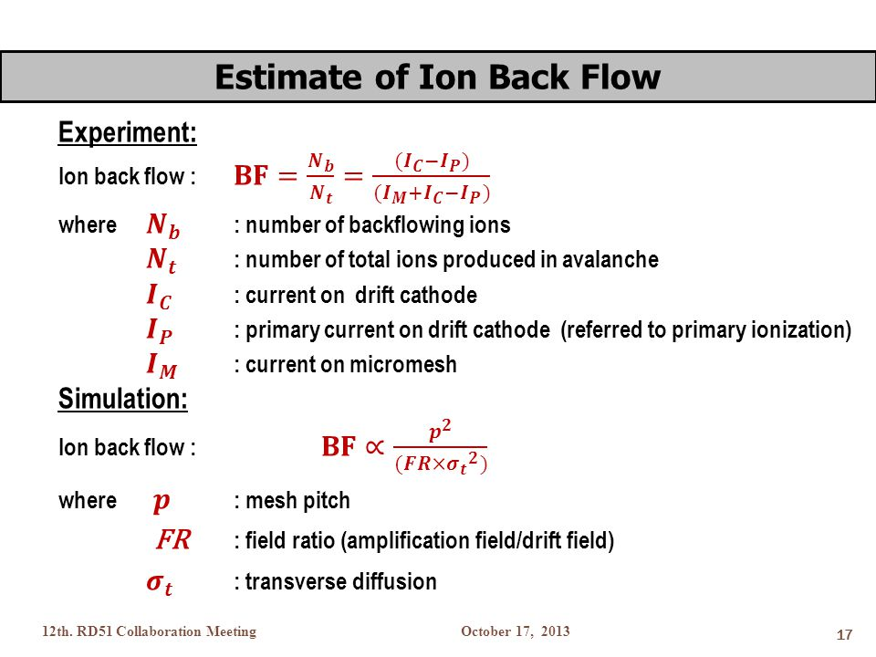 October 17, 201312th. RD51 Collaboration Meeting 17 Estimate of Ion Back Flow