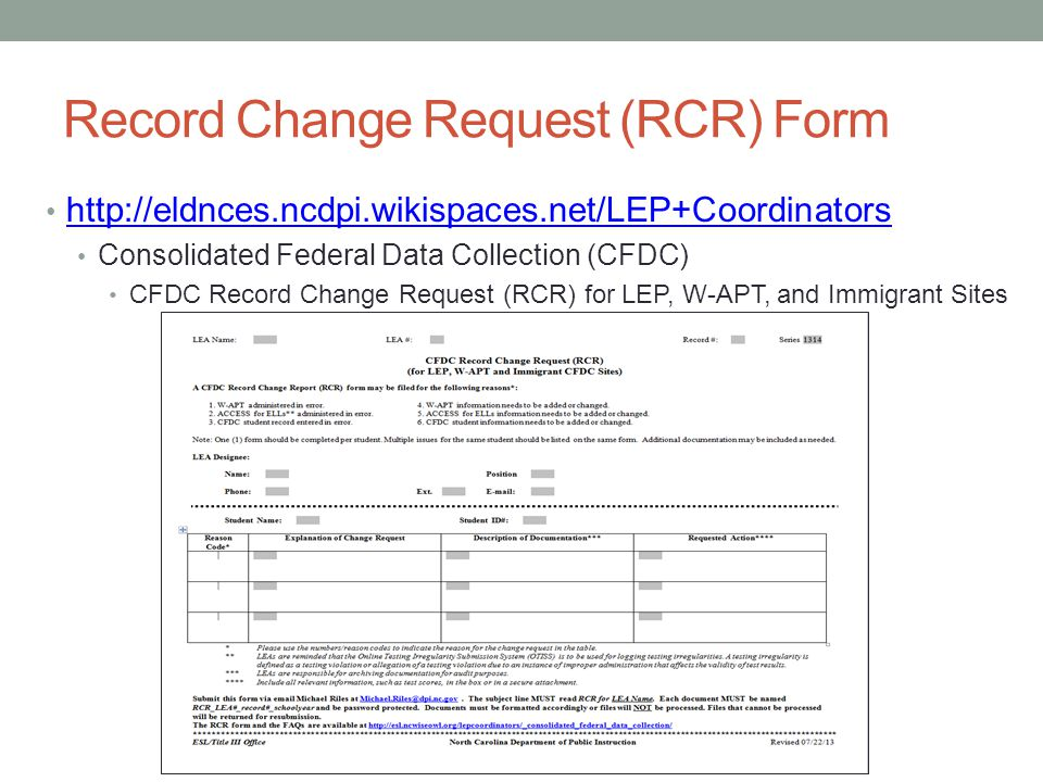 Record Change Request (RCR) Form http://eldnces.ncdpi.wikispaces.net/LEP+Coordinators Consolidated Federal Data Collection (CFDC) CFDC Record Change Request (RCR) for LEP, W-APT, and Immigrant Sites