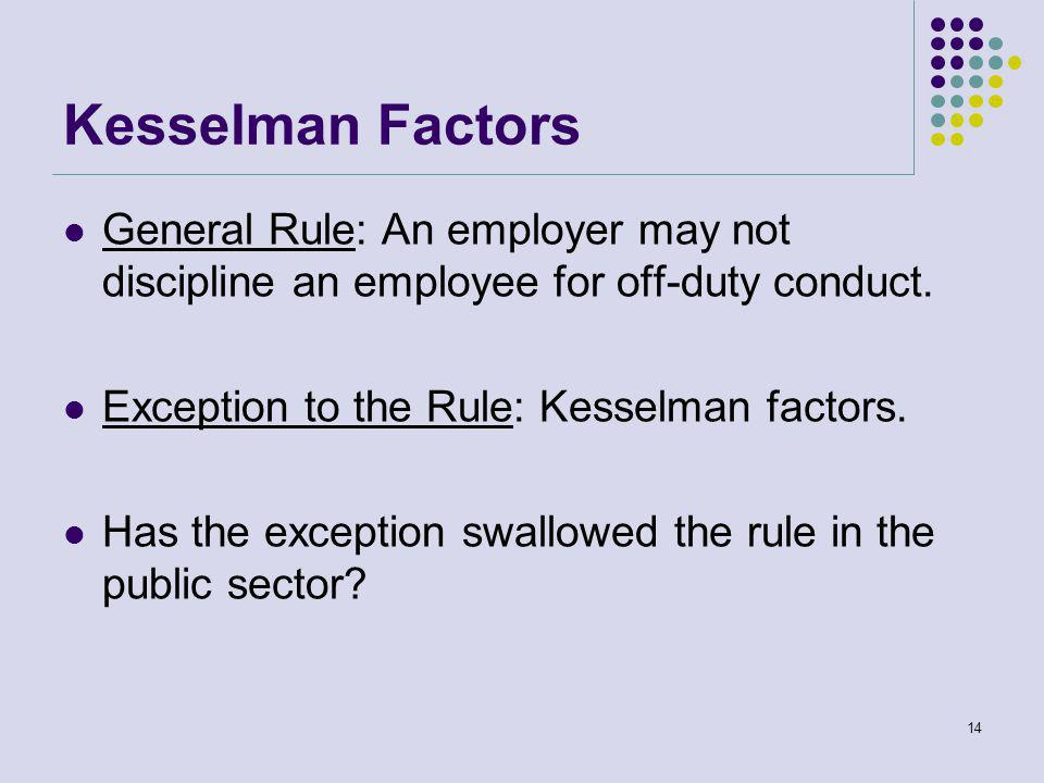 Kesselman Factors General Rule: An employer may not discipline an employee for off-duty conduct.