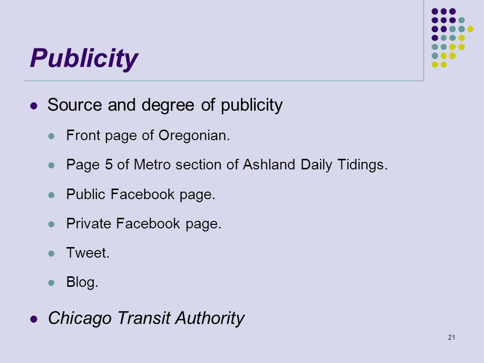 Publicity Source and degree of publicity Front page of Oregonian.