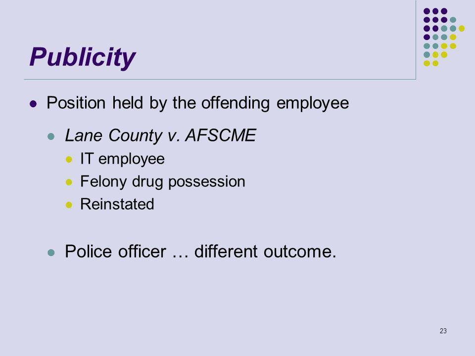 Publicity Position held by the offending employee Lane County v.