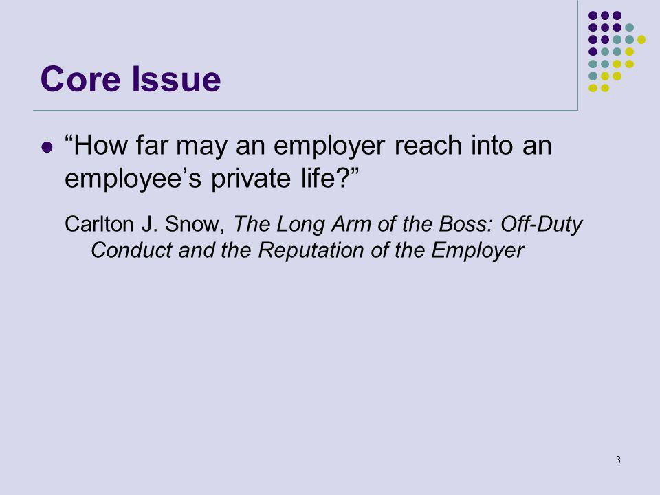 Core Issue How far may an employer reach into an employee's private life Carlton J.