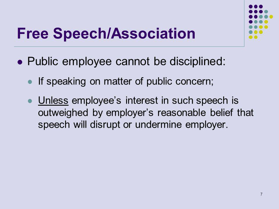 Free Speech/Association Public employee cannot be disciplined: If speaking on matter of public concern; Unless employee's interest in such speech is outweighed by employer's reasonable belief that speech will disrupt or undermine employer.