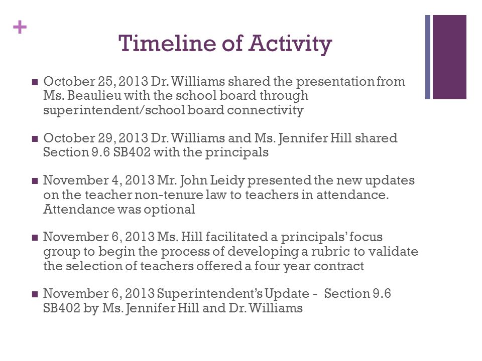 + Timeline of Activity October 25, 2013 Dr. Williams shared the presentation from Ms.