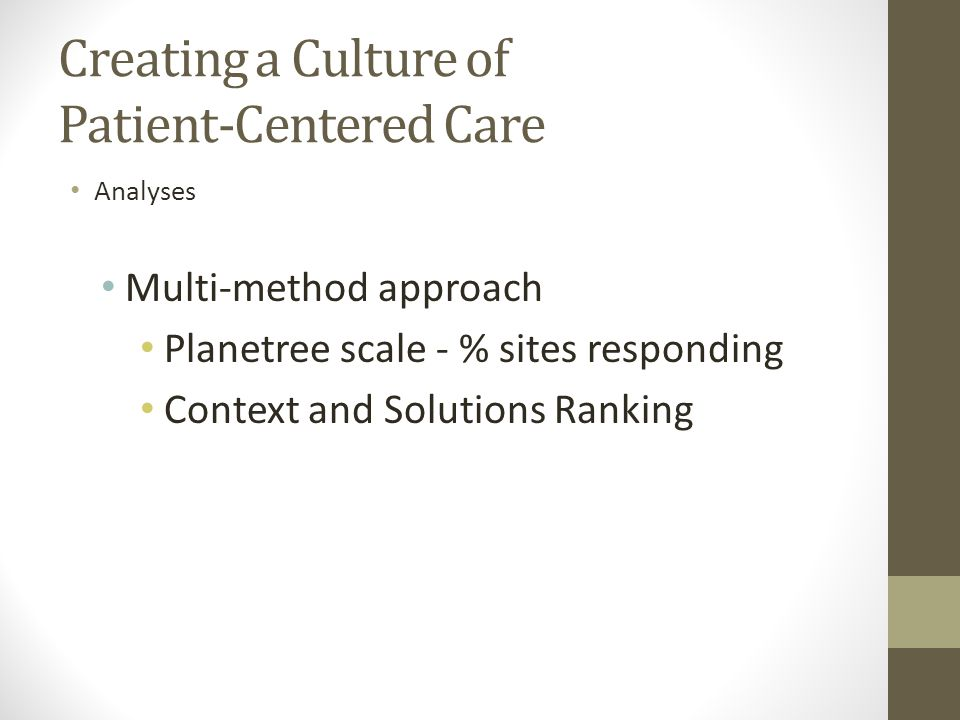 Creating a Culture of Patient-Centered Care Analyses Multi-method approach Planetree scale - % sites responding Context and Solutions Ranking