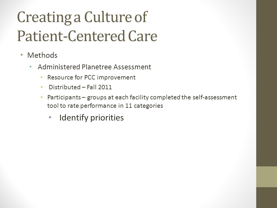 Creating a Culture of Patient-Centered Care Methods Administered Planetree Assessment Resource for PCC improvement Distributed – Fall 2011 Participants – groups at each facility completed the self-assessment tool to rate performance in 11 categories Identify priorities