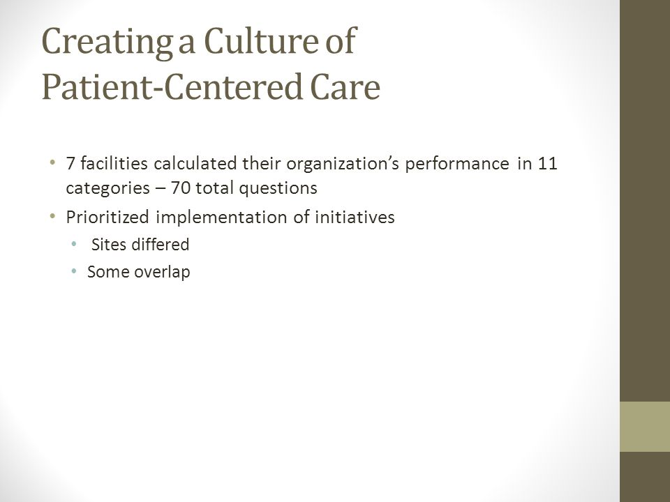 Creating a Culture of Patient-Centered Care 7 facilities calculated their organization's performance in 11 categories – 70 total questions Prioritized implementation of initiatives Sites differed Some overlap