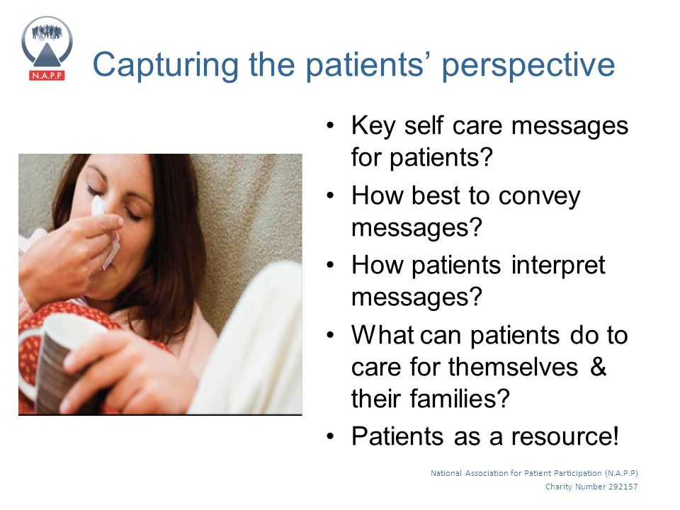National Association for Patient Participation (N.A.P.P) Charity Number 292157 Capturing the patients' perspective Key self care messages for patients.