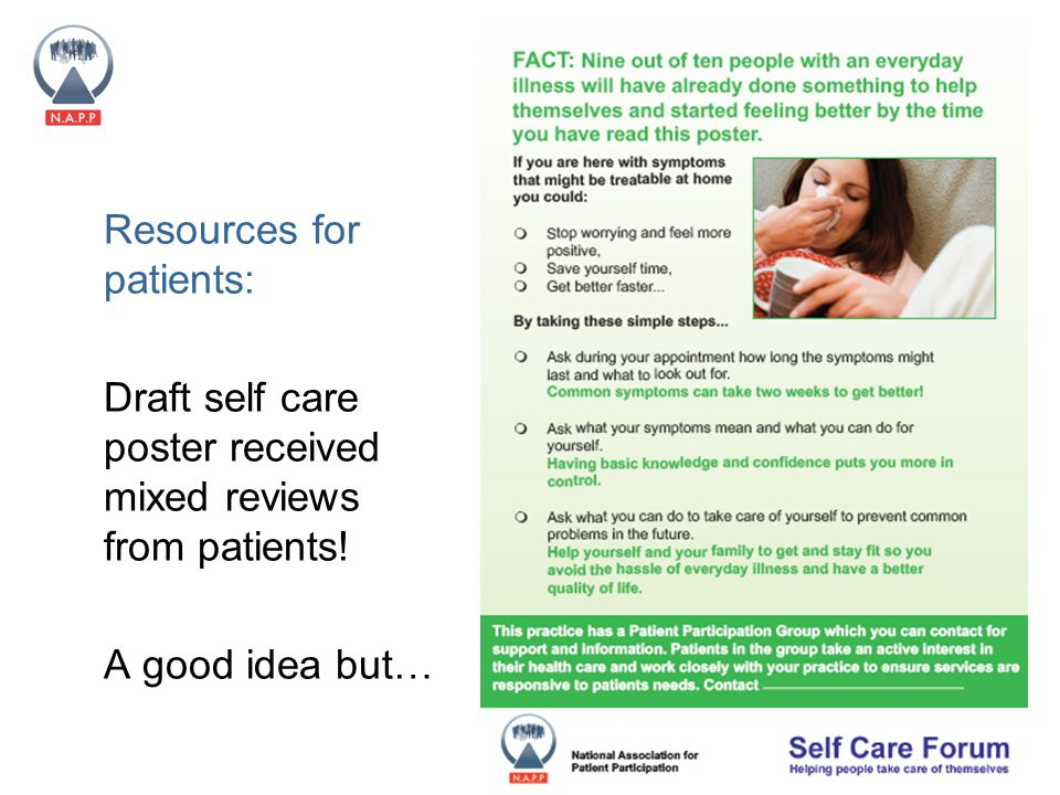 National Association for Patient Participation (N.A.P.P) Charity Number 292157 Resources for patients: Draft self care poster received mixed reviews from patients.