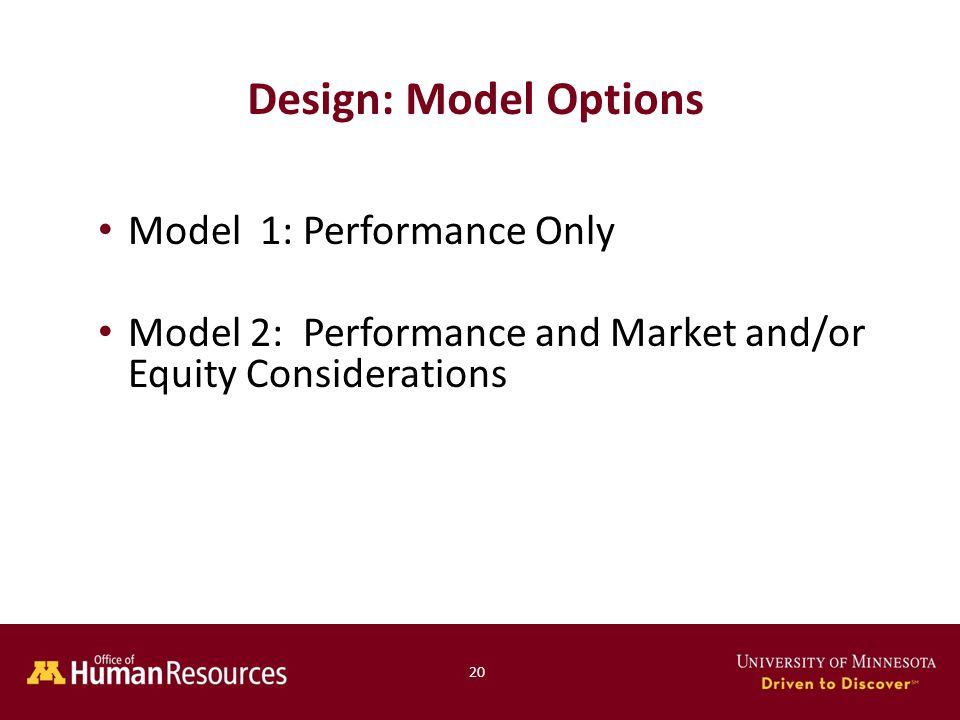 Model 1: Performance Only Model 2: Performance and Market and/or Equity Considerations Design: Model Options 20