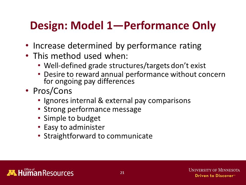 Increase determined by performance rating This method used when: Well-defined grade structures/targets don't exist Desire to reward annual performance without concern for ongoing pay differences Pros/Cons Ignores internal & external pay comparisons Strong performance message Simple to budget Easy to administer Straightforward to communicate Design: Model 1—Performance Only 21