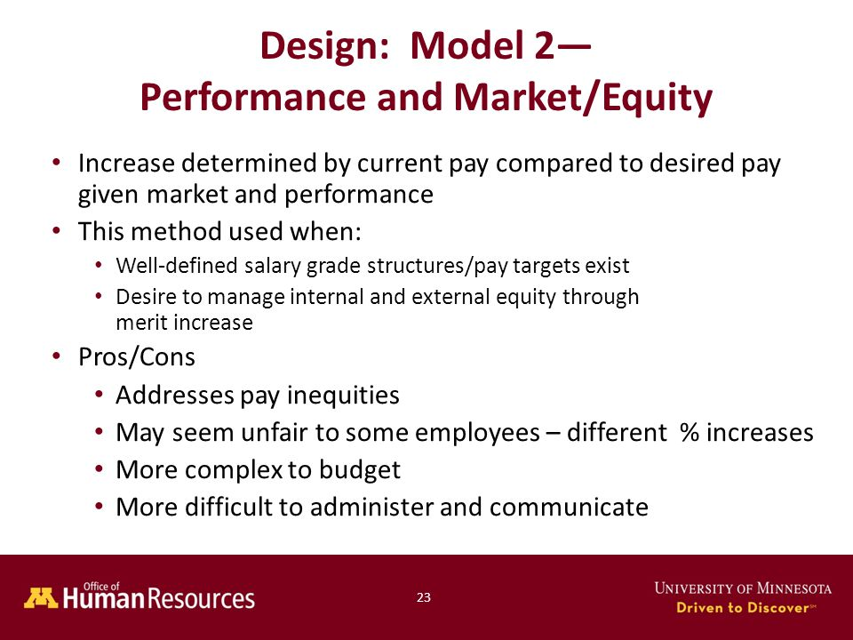 Increase determined by current pay compared to desired pay given market and performance This method used when: Well-defined salary grade structures/pay targets exist Desire to manage internal and external equity through merit increase Pros/Cons Addresses pay inequities May seem unfair to some employees – different % increases More complex to budget More difficult to administer and communicate Design: Model 2— Performance and Market/Equity 23