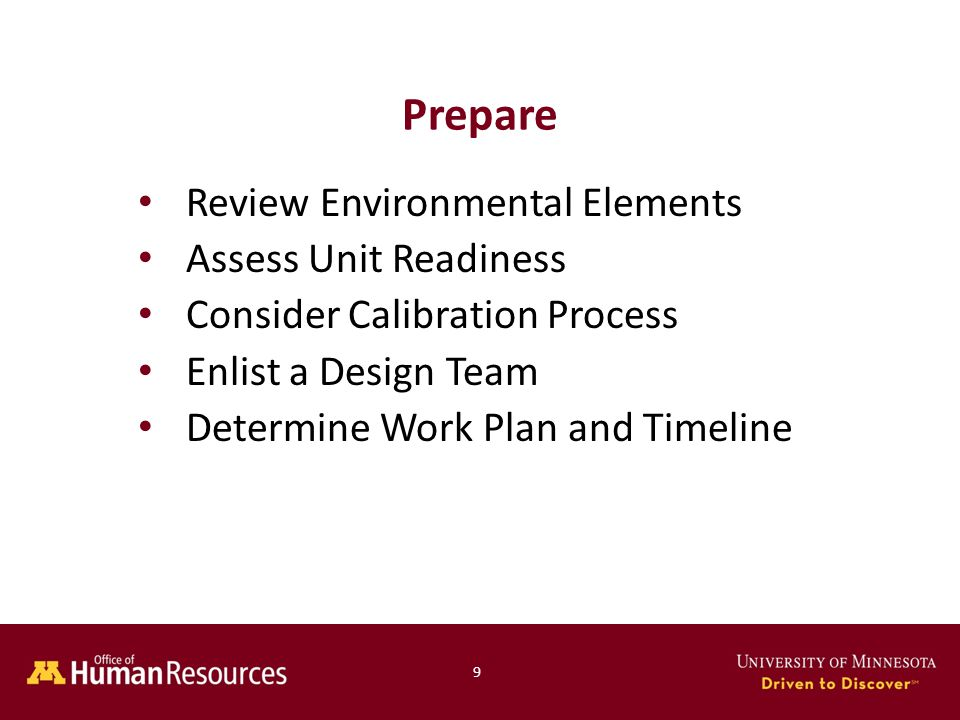 Prepare Review Environmental Elements Assess Unit Readiness Consider Calibration Process Enlist a Design Team Determine Work Plan and Timeline 9