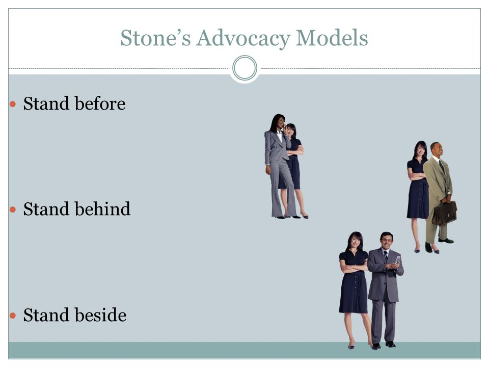 Stone's Advocacy Models Stand before Stand behind Stand beside