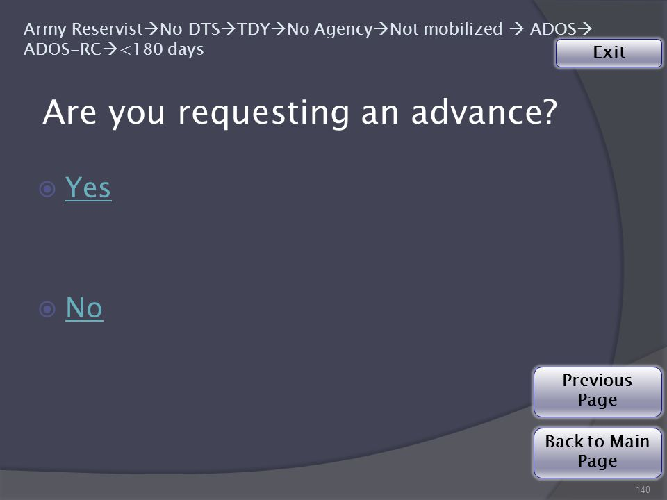 Are you requesting an advance.