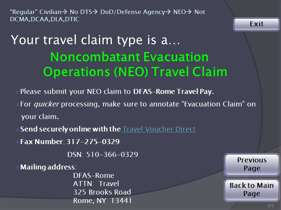 ◉Please submit your NEO claim to DFAS-Rome Travel Pay.
