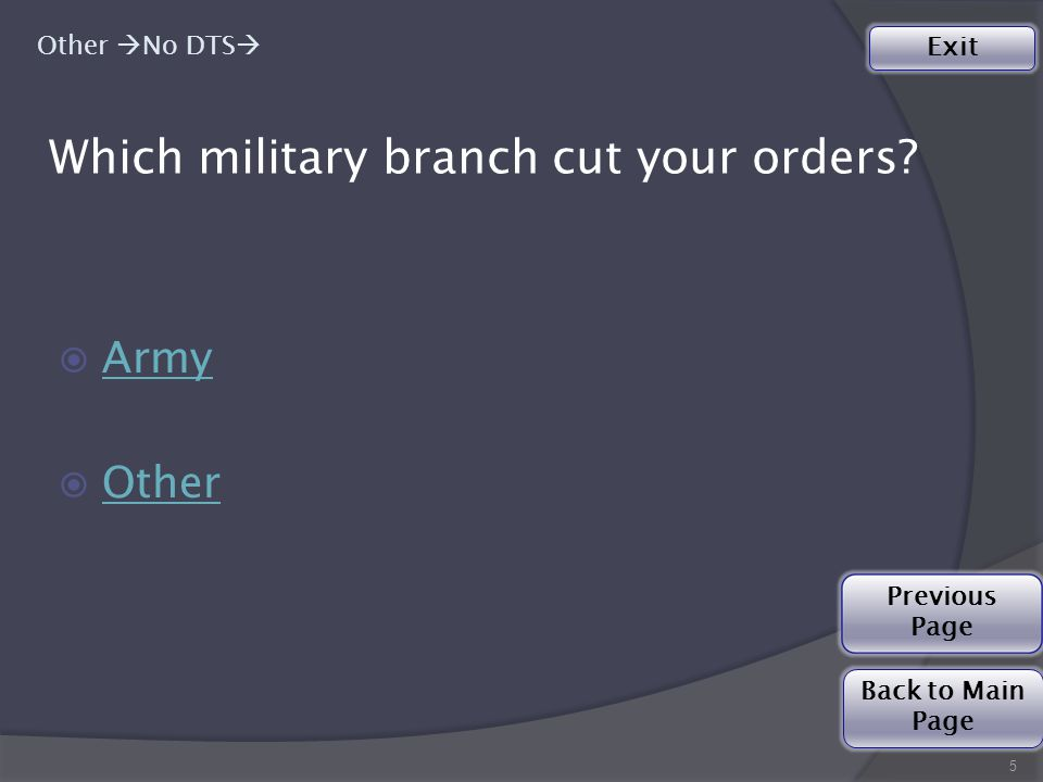 Which military branch cut your orders.