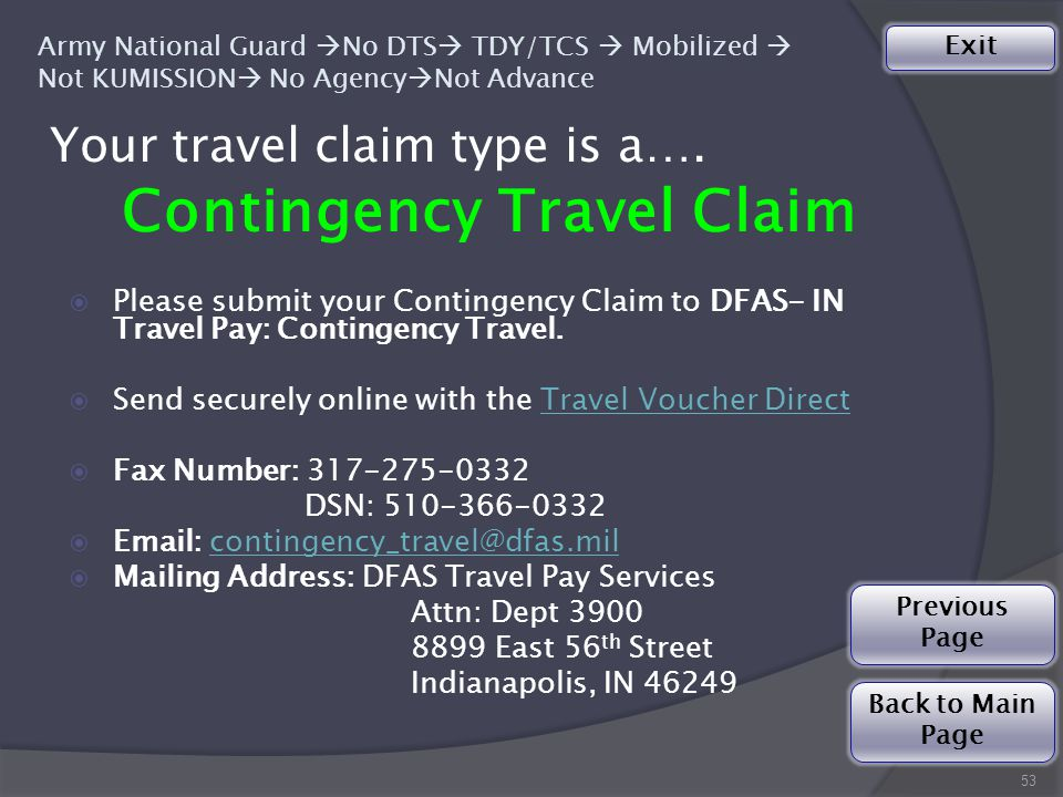 Your travel claim type is a….