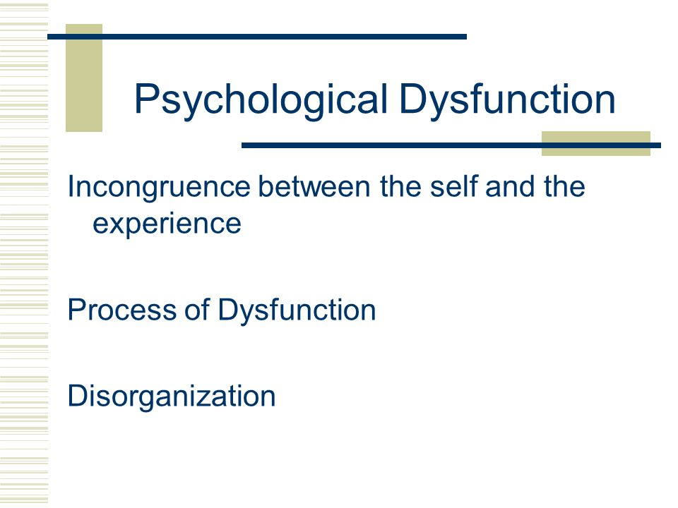 Psychological Dysfunction Incongruence between the self and the experience Process of Dysfunction Disorganization
