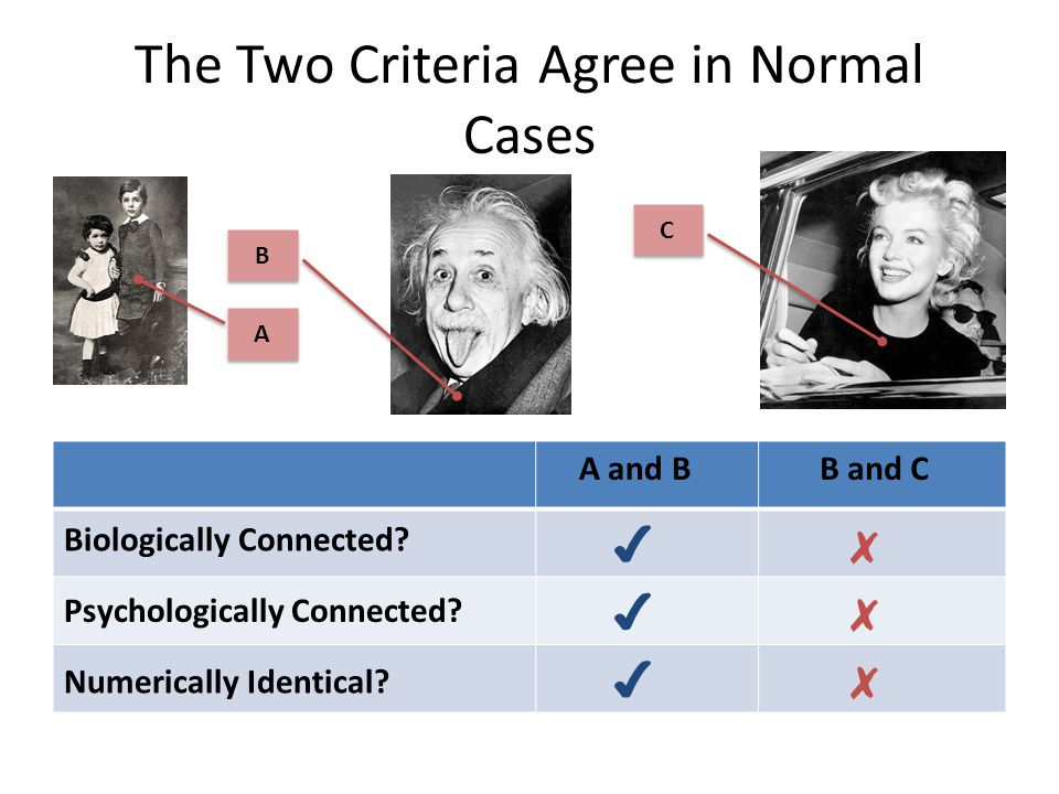 The Two Criteria Agree in Normal Cases A A B B A and BB and C Biologically Connected.
