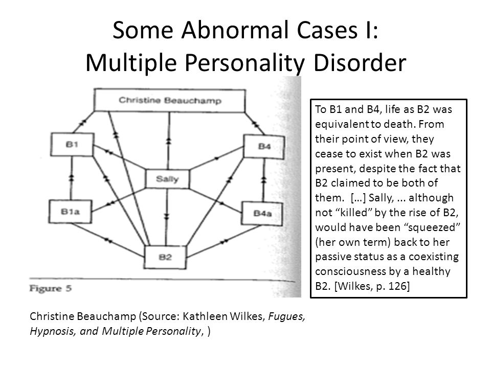 Some Abnormal Cases I: Multiple Personality Disorder Christine Beauchamp (Source: Kathleen Wilkes, Fugues, Hypnosis, and Multiple Personality, ) To B1 and B4, life as B2 was equivalent to death.