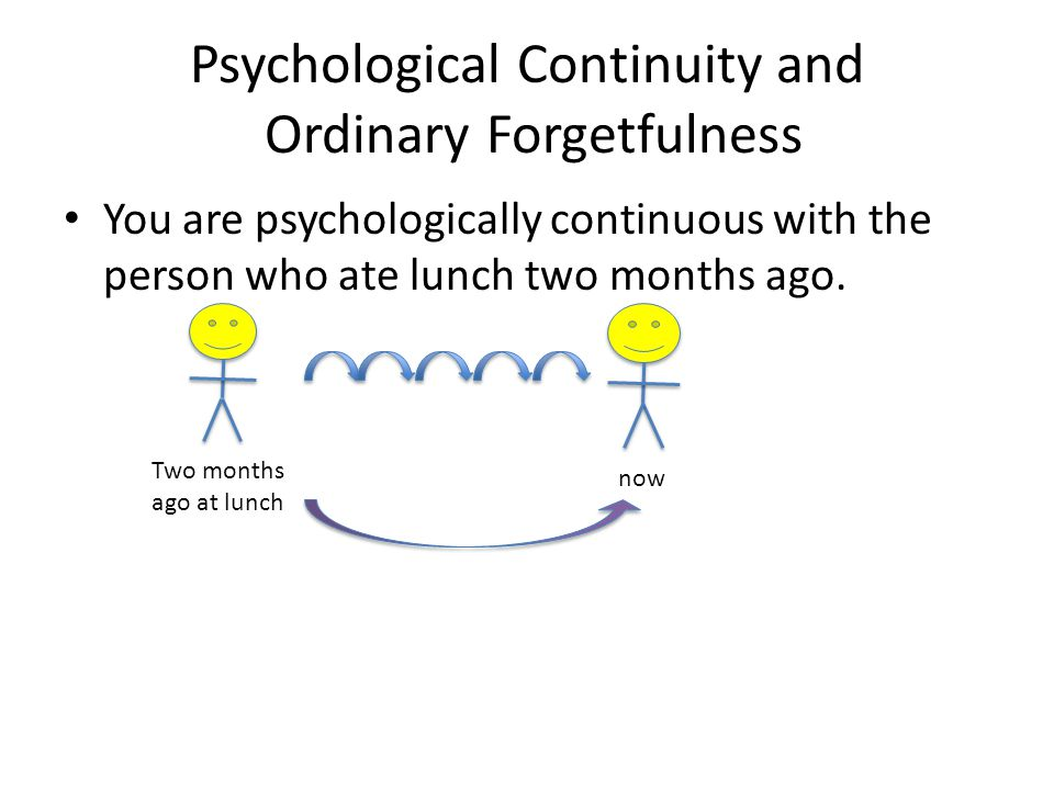 Psychological Continuity and Ordinary Forgetfulness You are psychologically continuous with the person who ate lunch two months ago.