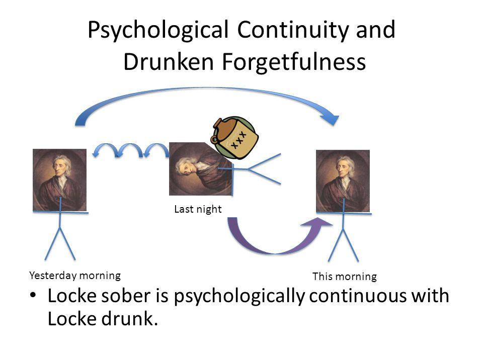 Psychological Continuity and Drunken Forgetfulness Locke sober is psychologically continuous with Locke drunk.