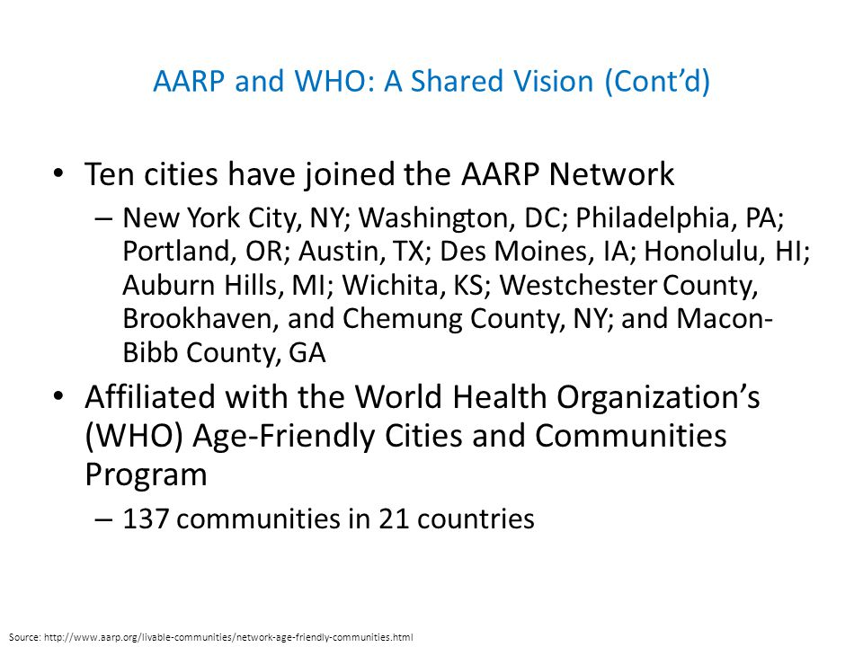 AARP and WHO: A Shared Vision (Cont'd) Ten cities have joined the AARP Network – New York City, NY; Washington, DC; Philadelphia, PA; Portland, OR; Austin, TX; Des Moines, IA; Honolulu, HI; Auburn Hills, MI; Wichita, KS; Westchester County, Brookhaven, and Chemung County, NY; and Macon- Bibb County, GA Affiliated with the World Health Organization's (WHO) Age-Friendly Cities and Communities Program – 137 communities in 21 countries Source: http://www.aarp.org/livable-communities/network-age-friendly-communities.html