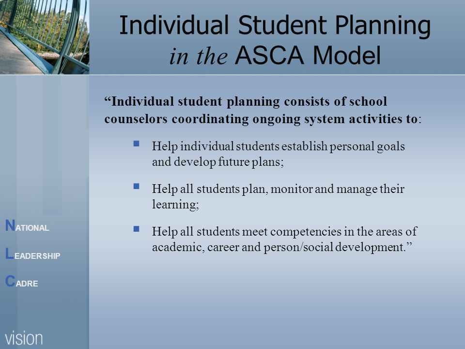 N ATIONAL L EADERSHIP C ADRE Individual Student Planning in the ASCA Model Individual student planning consists of school counselors coordinating ongoing system activities to:  Help individual students establish personal goals and develop future plans;  Help all students plan, monitor and manage their learning;  Help all students meet competencies in the areas of academic, career and person/social development.