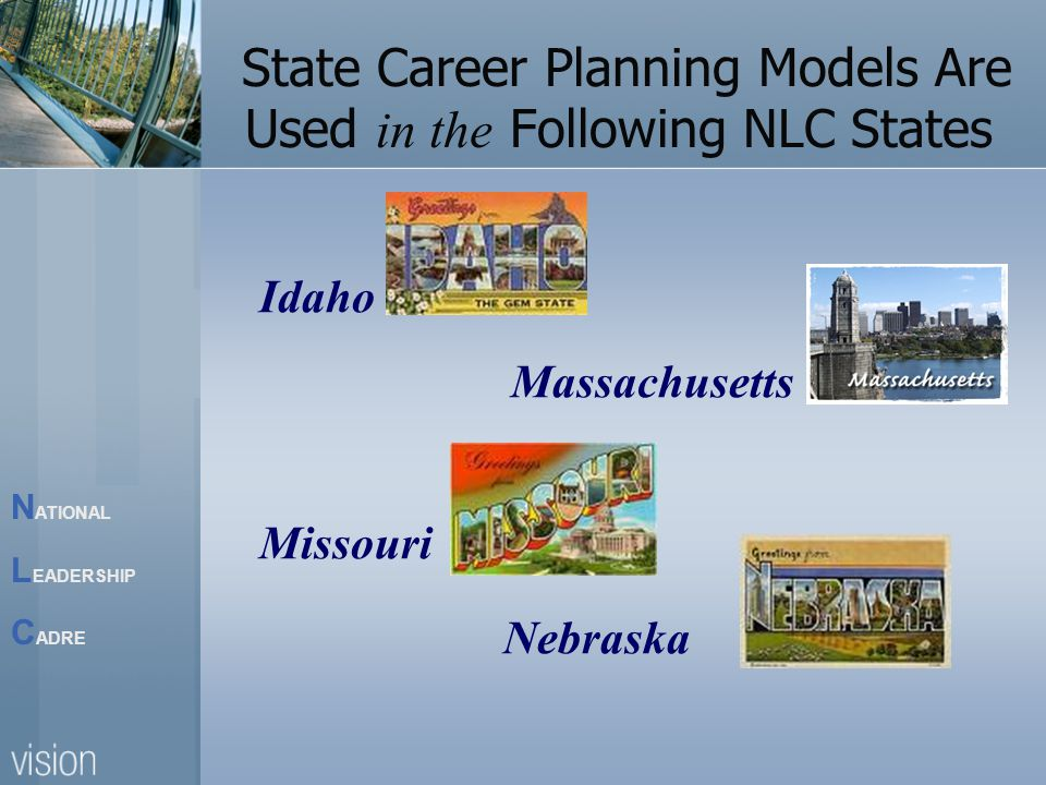 N ATIONAL L EADERSHIP C ADRE State Career Planning Models Are Used in the Following NLC States Idaho Massachusetts Missouri Nebraska