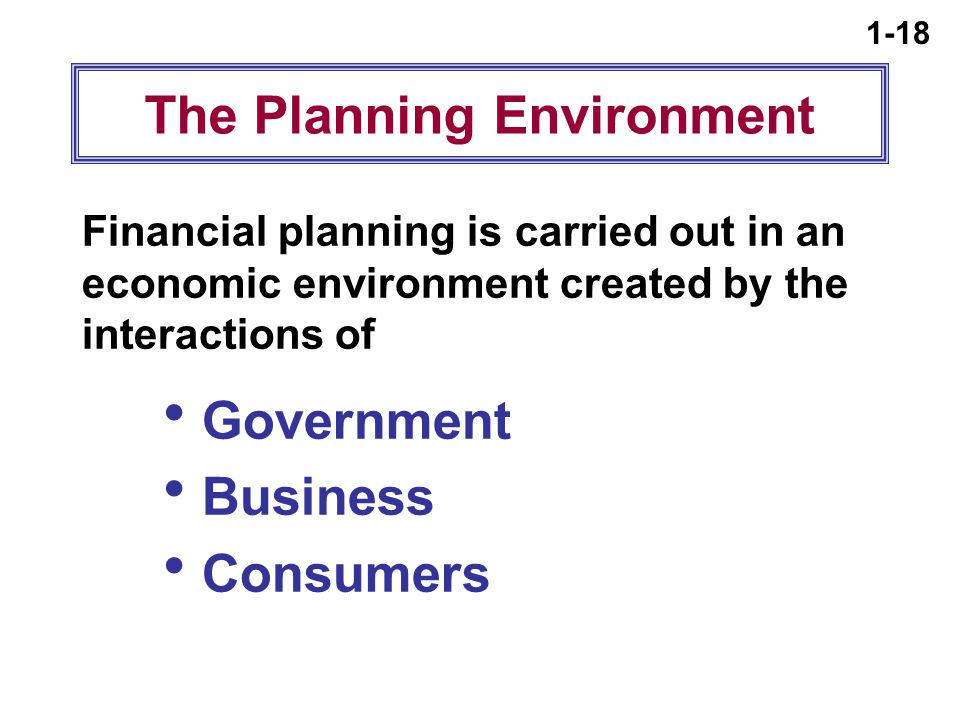 1-18 The Planning Environment Financial planning is carried out in an economic environment created by the interactions of  Government  Business  Consumers