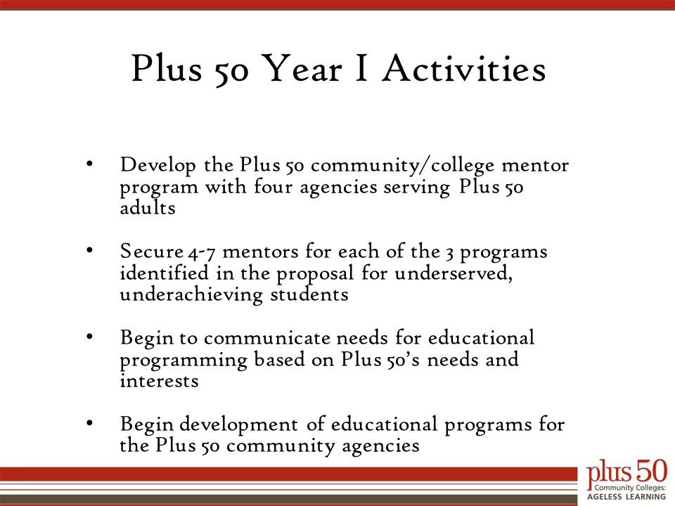 Plus 50 Year I Activities Develop the Plus 50 community/college mentor program with four agencies serving Plus 50 adults Secure 4-7 mentors for each of the 3 programs identified in the proposal for underserved, underachieving students Begin to communicate needs for educational programming based on Plus 50's needs and interests Begin development of educational programs for the Plus 50 community agencies