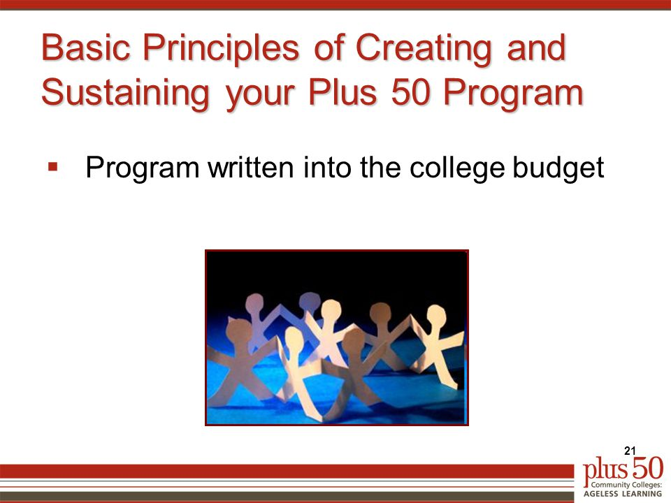 Basic Principles of Creating and Sustaining your Plus 50 Program  Program written into the college budget 21