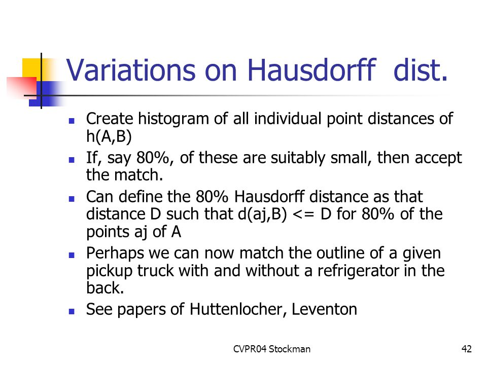 CVPR04 Stockman42 Variations on Hausdorff dist.
