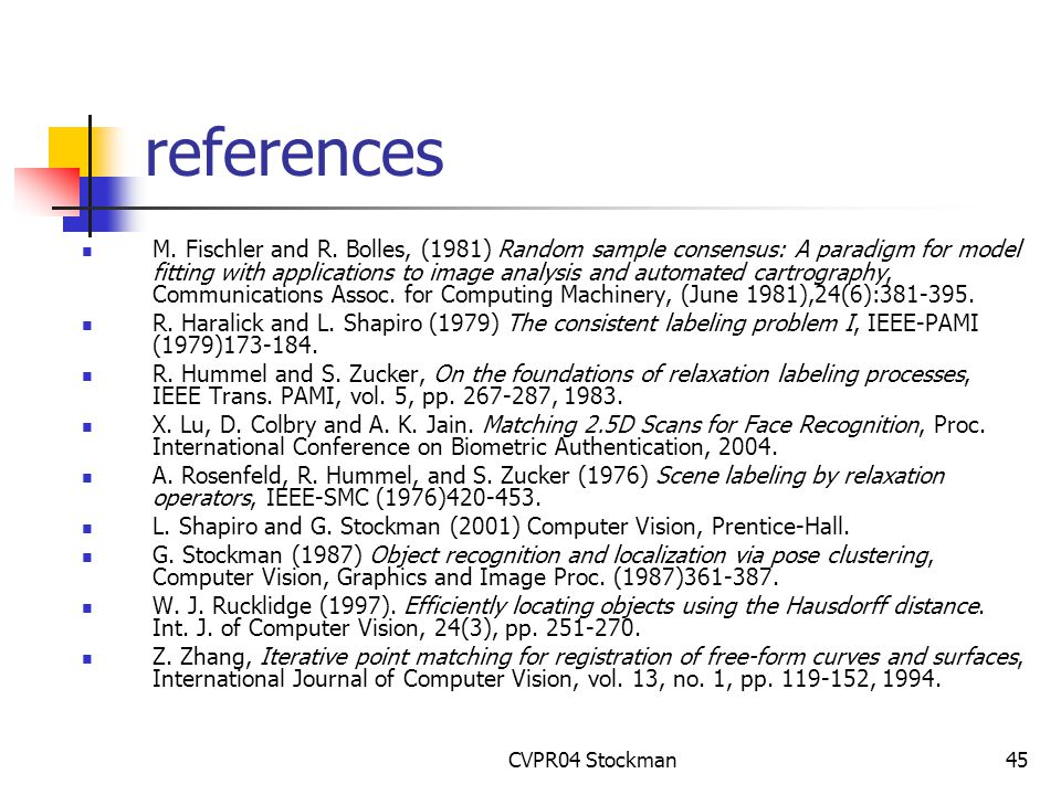 CVPR04 Stockman45 references M. Fischler and R.