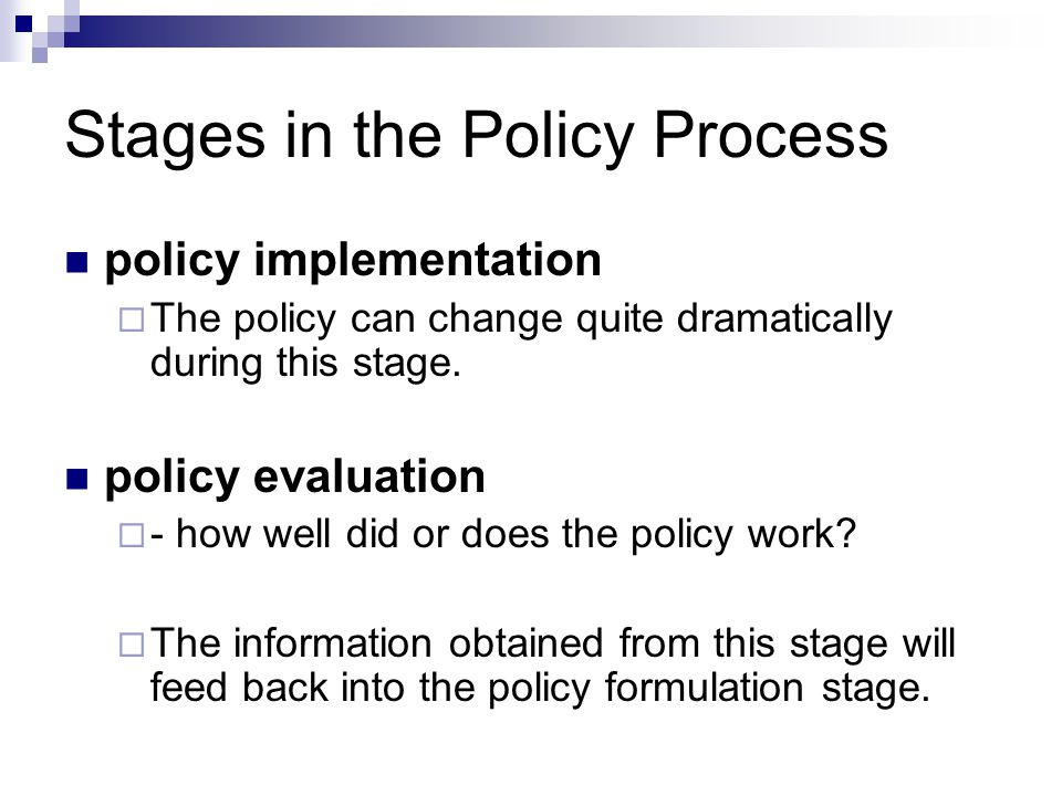 formulation phase of policy making