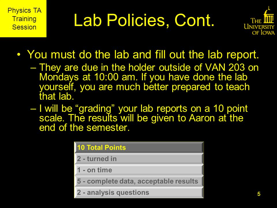 Physics TA Training Session Lab Policies, Cont. You must do the lab and fill out the lab report.