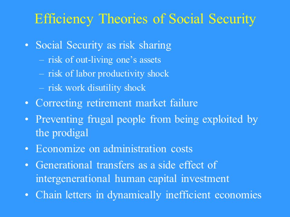 Efficiency Theories of Social Security Social Security as risk sharing –risk of out-living one's assets –risk of labor productivity shock –risk work disutility shock Correcting retirement market failure Preventing frugal people from being exploited by the prodigal Economize on administration costs Generational transfers as a side effect of intergenerational human capital investment Chain letters in dynamically inefficient economies