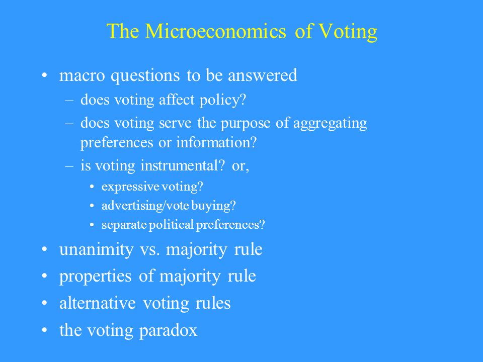 The Microeconomics of Voting macro questions to be answered –does voting affect policy.